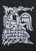 Узор на спине толстовки из двух переплетённых огнедышащих драконов.